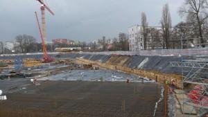 Zabezpieczenie wykopu ścianką Berlińską przy ul. Jaworskiej we Wrocławiu