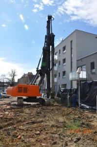 Ścianka berlińska oraz palisada na budowie przy ul. Kościelnej we Wrocławiu