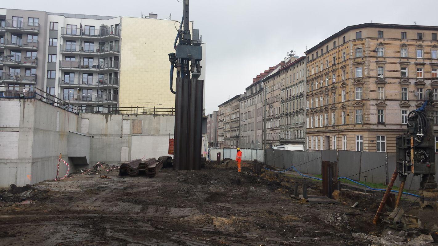 Zabezpieczenie wykopu Castellum Wrocław ul. Prądzyńskiego