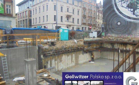 Zabezpieczenie wykopu w technologii palisady VDW, ul. Młyńska w Katowicach.
