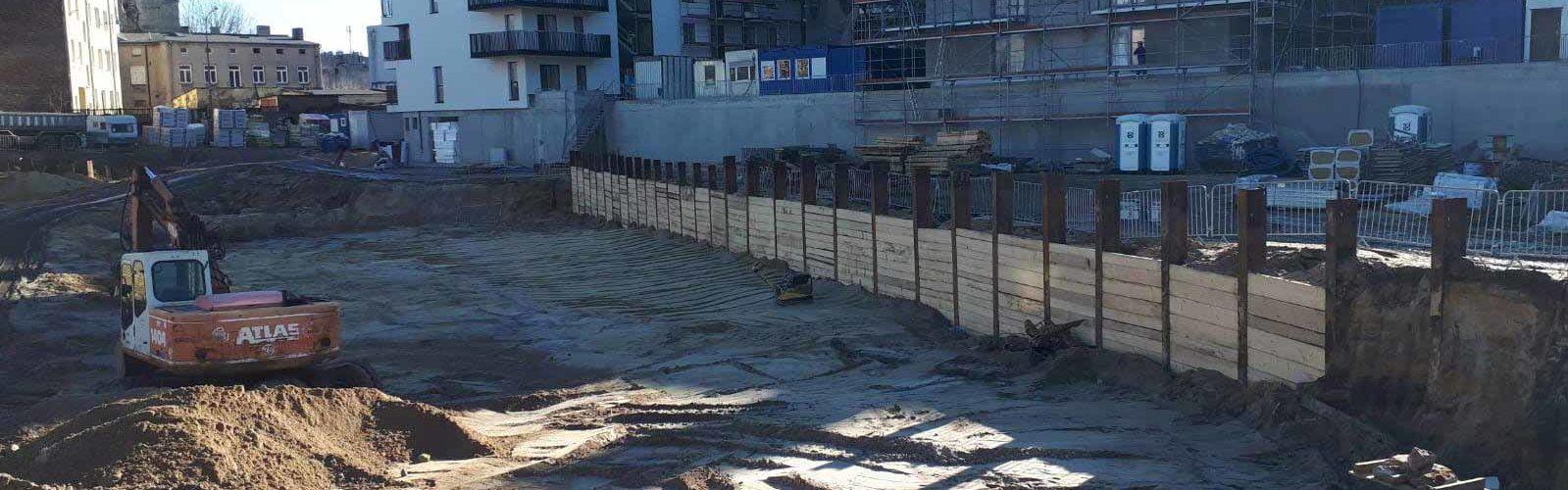 Zabezpieczenie wykopu Łódź - ścianka szczelna oraz ścianka berlińska