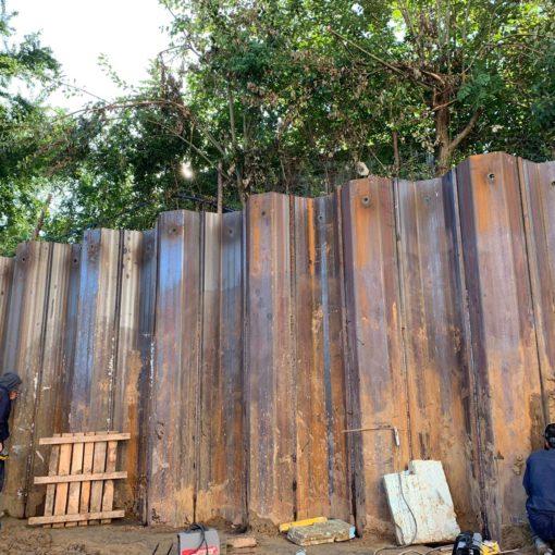 Ścianki szczelne zastosowane jako mur oporowy
