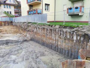 Ścianka szczelna oraz palisada żelbetowa VDW z zacięciem, ul. Sołtysowicka we Wrocławiu.