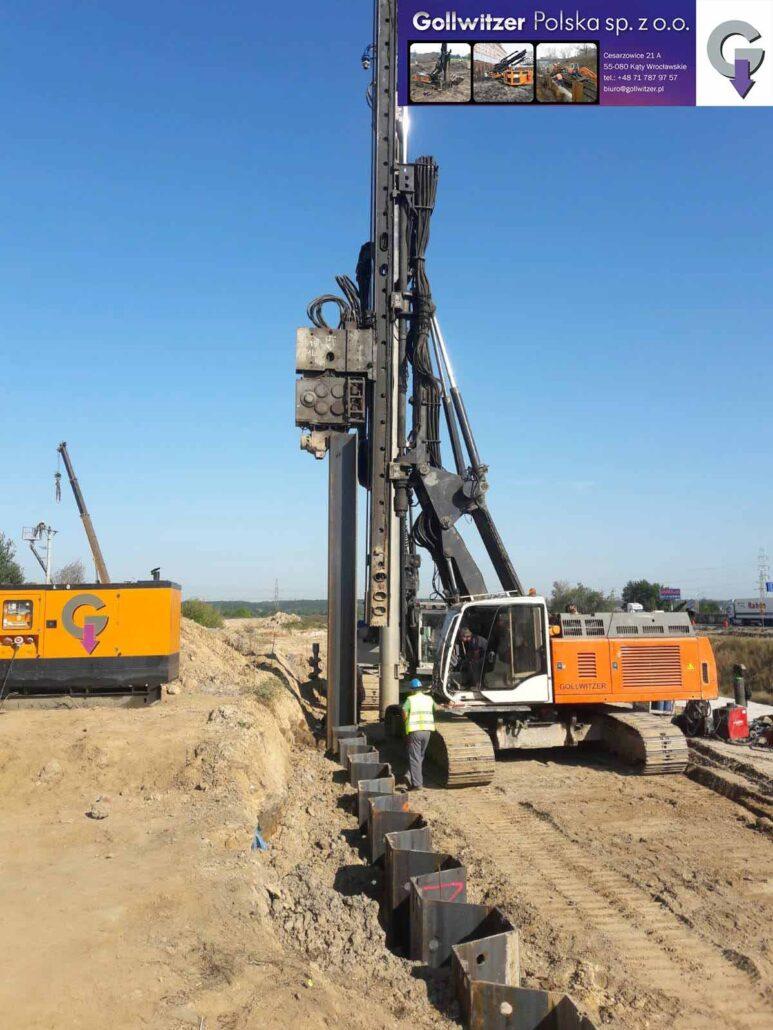 Mur oporowy. Projekt i budowa drogi ekspresowej S-5 na odcinku od węzła Tryszczyn dowęzła Białe Błota o długości około 13,5 km- Ścianka szczelna, kotwy gruntowe